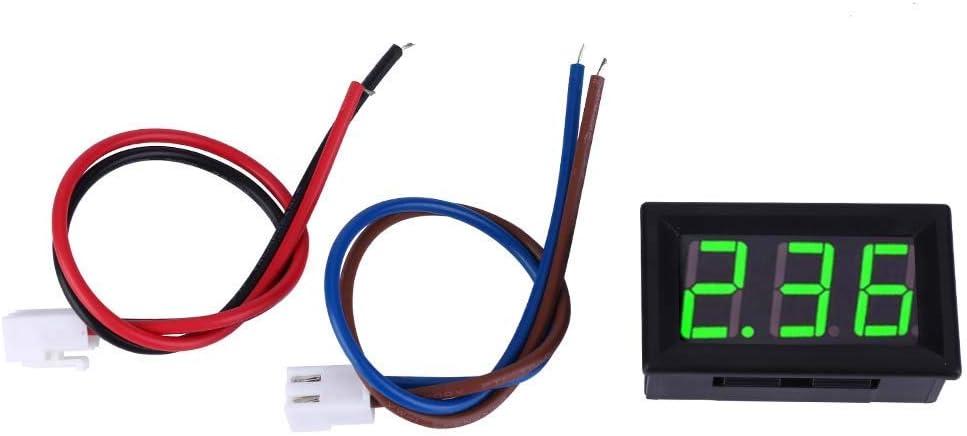 ZGYQGOO Amperímetro Digital, 0.56 in Panel de visualización de Corriente CC Digital de Dos Cables 0-10A Amperímetro Probador de batería para automóvil/Motocicleta (Verde)