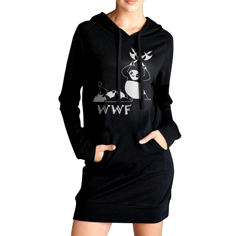 WU-RONGRONG WU Sweatshirt Dress Hoodie Pockets Angry Panda Bear Wrestling Long Hoodie For Women by WU-RONGRONG WU