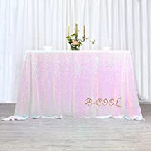 """B-COOL 90""""x156"""" Rectangle White Iridescent Sequin Tablecloth For Halloween/Thanksgiving Day/Wedding/Party/Curtain/Birthday/Christmasand Other Event Decor"""