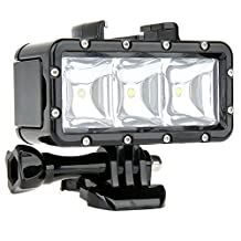 YOEMELY Waterproof LED Diving Light for Sports Action Camera 1200mAh Built-in Rechargeable Battery 40m Underwater Video Fill Light Night Light for GoPro Hero 4 Session 4 3+ 3 2 1