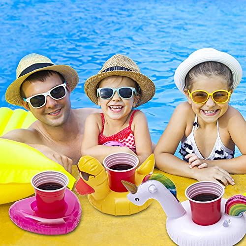 Rainbow Kingdom Inflatable Drink Holders, 12 Packs Inflatable Cup Coasters Drink Floats Floating Drink Holder Bath Toys for Kids and Swimming Pool Party