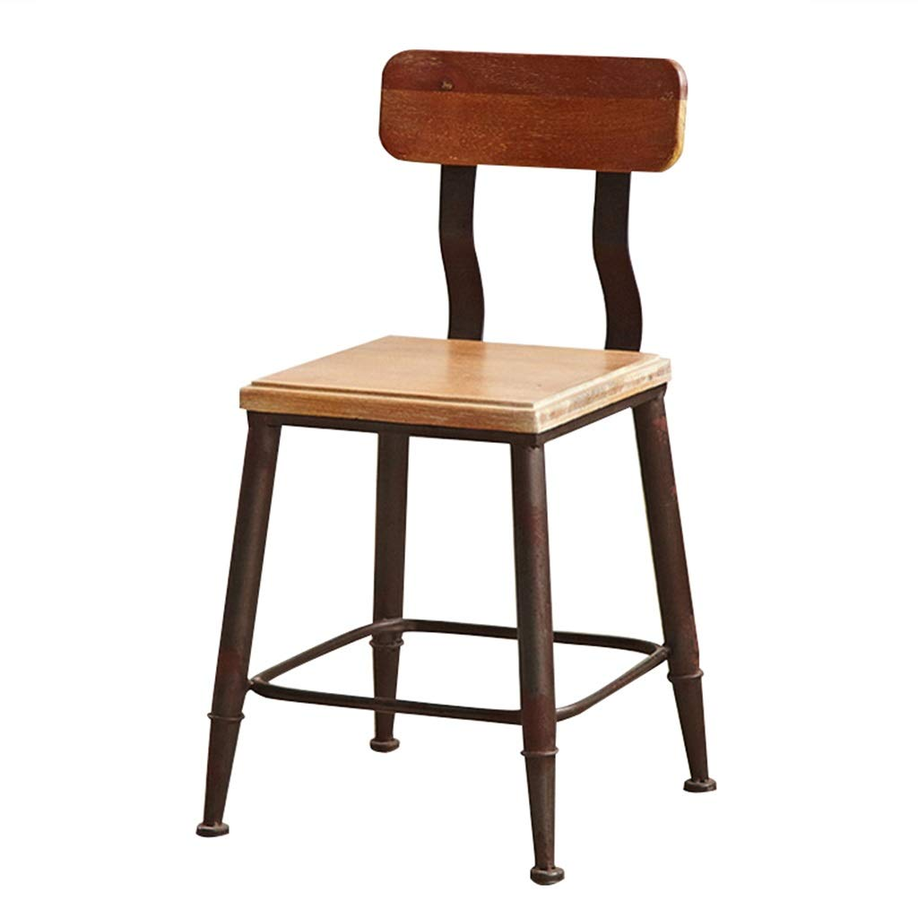 45cm Seat height Barstools - Iron Art Retro Bar Chair Industrial Style High Foot Stool Metal Backrest Seat Rust color Cafe Counter Creative Household 0425A (Size   75cm Seat Height)