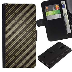 [Neutron-Star] Modelo colorido cuero de la carpeta del tirón del caso cubierta piel Holster Funda protecció Para Samsung Galaxy S5 Mini (Not S5), SM-G800 [Patrón Bares Gris Pastel]