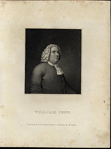 William Penn Portrait ca. 1820 antique old original J.B. Longacre engraved print - 1820 Original Antique