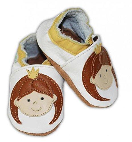 Fiorino piel–Patucos de zapatos de bebé lauflern–Zapatos de motivos en diferentes colores y Tamaños azul Fuchs Blau Talla:L Mädchen Gelb