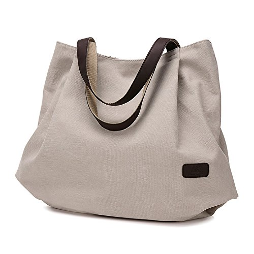 Handbags Shoulder Handle Bag School Bag Large Beige for Bag Top Womens UNYU Slouch Tote Shopping Canvas Hobo Work UqwBB0