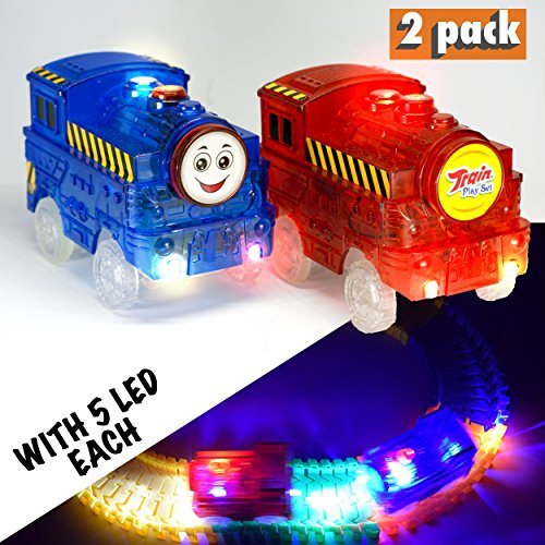 Light Up Toy Car Blue and Red Train (2-Pack) with 5 LED Lights Glow in the Dark Racing Track Accessories Compatible with Most Tracks for Boys and Girls