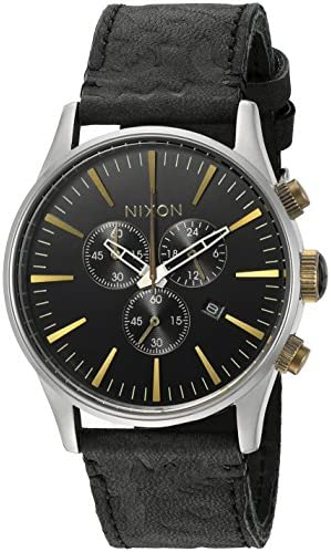 Nixon Men s A4052222-00 Sentry Chrono Leather Analog Display Japanese Quartz Black Watch
