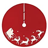 """NORTHLIGHT 54"""" White Embroided Rice Stitch Flying Sleigh Christmas Tree Skirt Accessories, Red"""