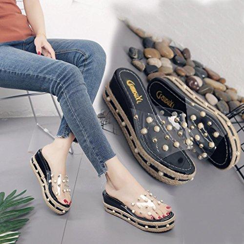 Sandalias De Cuña Para Mujer Inkach - Sandalias De Verano De Moda Sandalias De Tacón Grueso Sandalias De Quita Y Pon Transparentes Negro