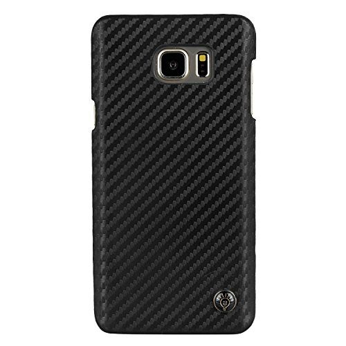 Parallel Universe Samsung Galaxy Note 5 Back Cover Case Carbon Fiber PU Leather Backcover   Black