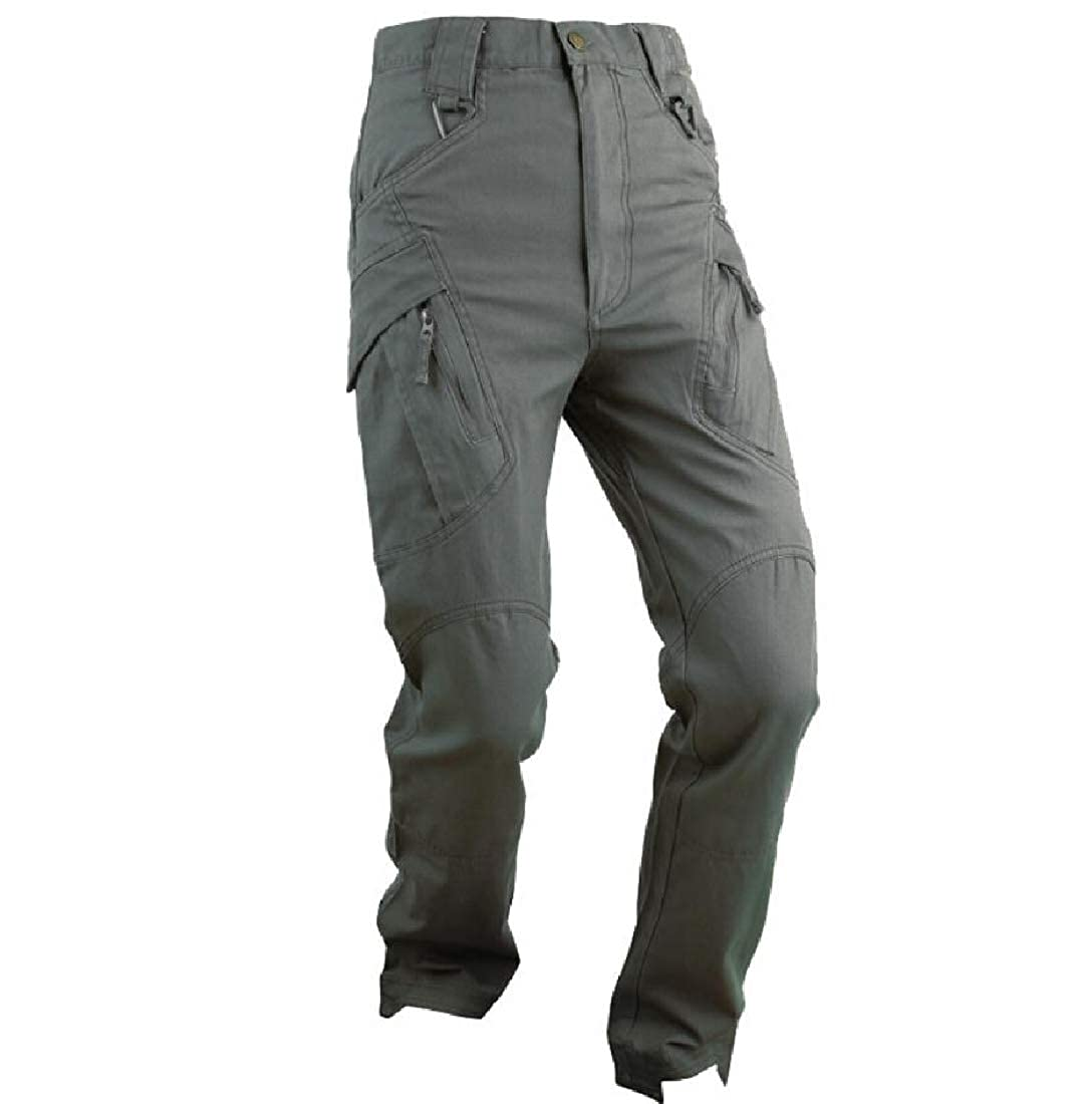 YUNY Mens Military Work Wear Loose Simple Outdoor Cargo Pants Green 2XL