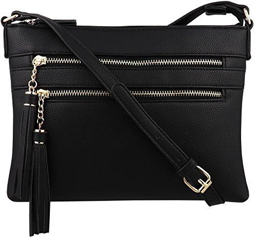 B BRENTANO Vegan Multi-Zipper Crossbody Handbag Purse with Tassel Accents (Black 1) by B BRENTANO
