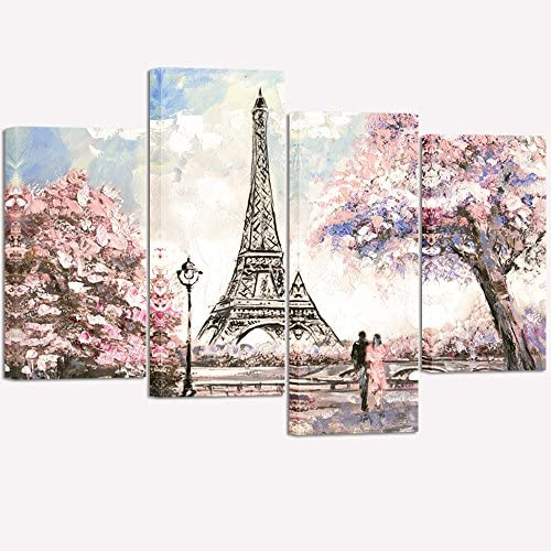 Visual Art Decor Couple on Fancy Pink and Purple Blossoming Paris Street Eiffel Tower Scenery Painting Picture Printed on Canvas Stretched Ready to Hang Home Wall Art Decoration 02 Pink