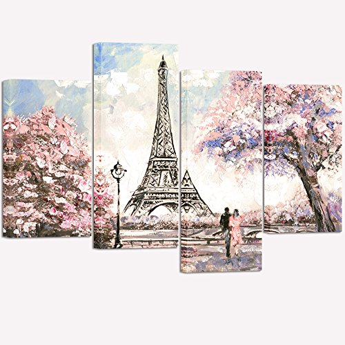 Art Tower Canvas (Visual Art Decor Couple on Fancy Pink and Purple Blossoming Paris Street Eiffel Tower Scenery Painting Picture Printed on Canvas Stretched Ready to Hang Home Wall Art Decoration (02 Pink))