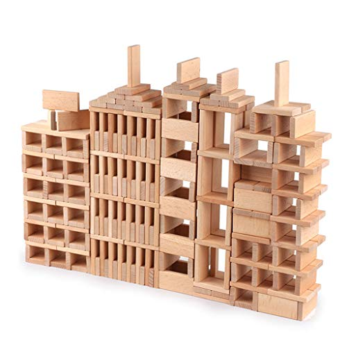 ZYN Children's Building Blocks Dominoes Creative Educational Toys Kindergarten Teaching Aids Beech Safe and Unpainted (Color : Wood Color (300 Pieces)) by ZYN (Image #8)
