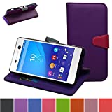Sony Xperia M5 Case,Mama Mouth [Stand View] Flip Premium PU Leather [Wallet Case] With Credit Card / Cash Slots Cover For Sony Xperia M5 E5653 E5603 E5633 E5643 E5606,Purple