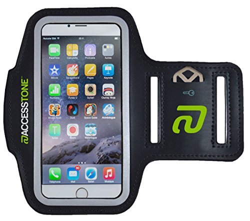 "AccessTone™ iPhone 6 Armband for Running, Biking & Fitness. Durable Sweat-resistant Sports Armband + Key Holder & Touch-sensitive Cover, for Apple iPhone 6 & 6s (4.7""). Free Replacement Warranty"
