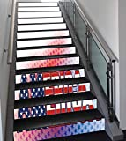 Stair Stickers Wall Stickers,13 PCS Self-adhesive,American,USA Flag on America Stars Background Illustration Freedom Independence Liberty,Red Blue White,Stair Riser Decal for Living Room, Hall, Kids R
