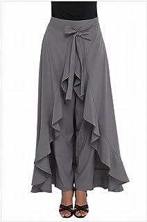 MTX-Girl cloth la Cintura Alta de Las Mujeres de la Moda con Los Pantalones Casuales Flojos Plegados de Las Mujeres Flojas, Gris, SG