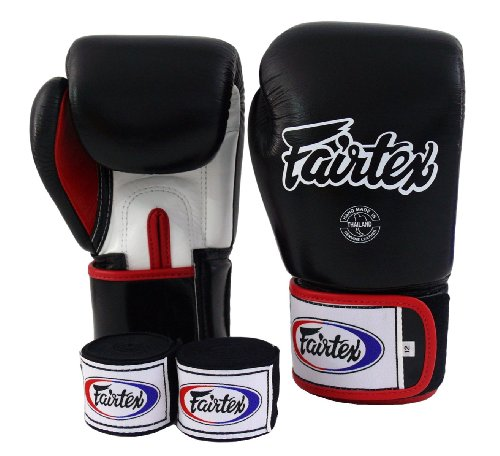 Fairtex-Muay-Thai-Boxing-Gloves-BGV1-Black-White-Red-Gloves-Handwraps-Size-10-12-14-16-oz-Training-Sparring-All-Purpose-Gloves-for-Kick-Boxing-MMA-K1-Tight-Fit-Design