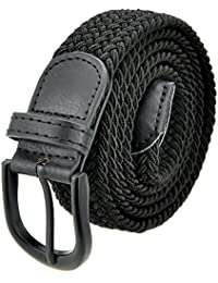 Braided Stretch Elastic Belt with Pin Oval Solid Black Buckle Leather Loop End Tip with Men/Women/Junior (7 Sizes 12 Colors