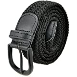 Braided Stretch Elastic Belt with Pin Oval Solid Black Buckle Leather Loop End Tip with Men/Women/Junior (Black, Large 36''-38'' (44'' Length))