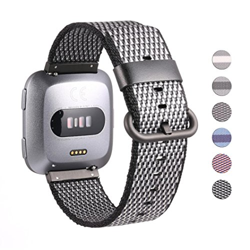 Price comparison product image Boofab Fitbit Versa Watch Bands Loop Small Large,  Adjustable Closure Wrist Replacement Fitness Sport Wrist Bands Woven Nylon Band Straps For Fitbit Versa Fitness Smart Watch Women Men (B)