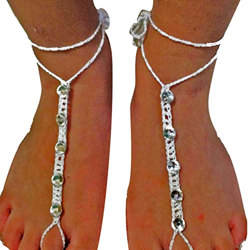 Time to Bling Your Feet Swarovski Elements Barefoot Sandals Crystals Anklet Beach Shoes