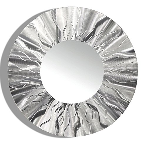Large Round Silver Modern Metal Wall Art - Contemporary Wall Mirror - -