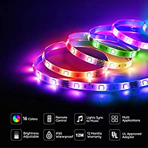 LED Strip Lights, DotStone Music LED Lights Strip Kit SMD 5050 RGB Color Changing Lights with Remote for Bedroom, Kitchen, Room, TV, Party, Home Decoration, Christmas 16.4ft