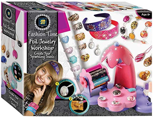 AMAV Toys Foil Workshop Jewelry Making Kit for Girls Complete Set Including Beads Bracelets Hair Pins and Pendants and Earring Perfect Arts&Crafts DIY Deluxe Gift for Girls Ages +6