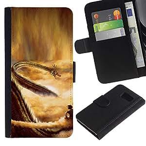 KLONGSHOP // Tirón de la caja Cartera de cuero con ranuras para tarjetas - Dragon del cielo - Samsung Galaxy S6 //