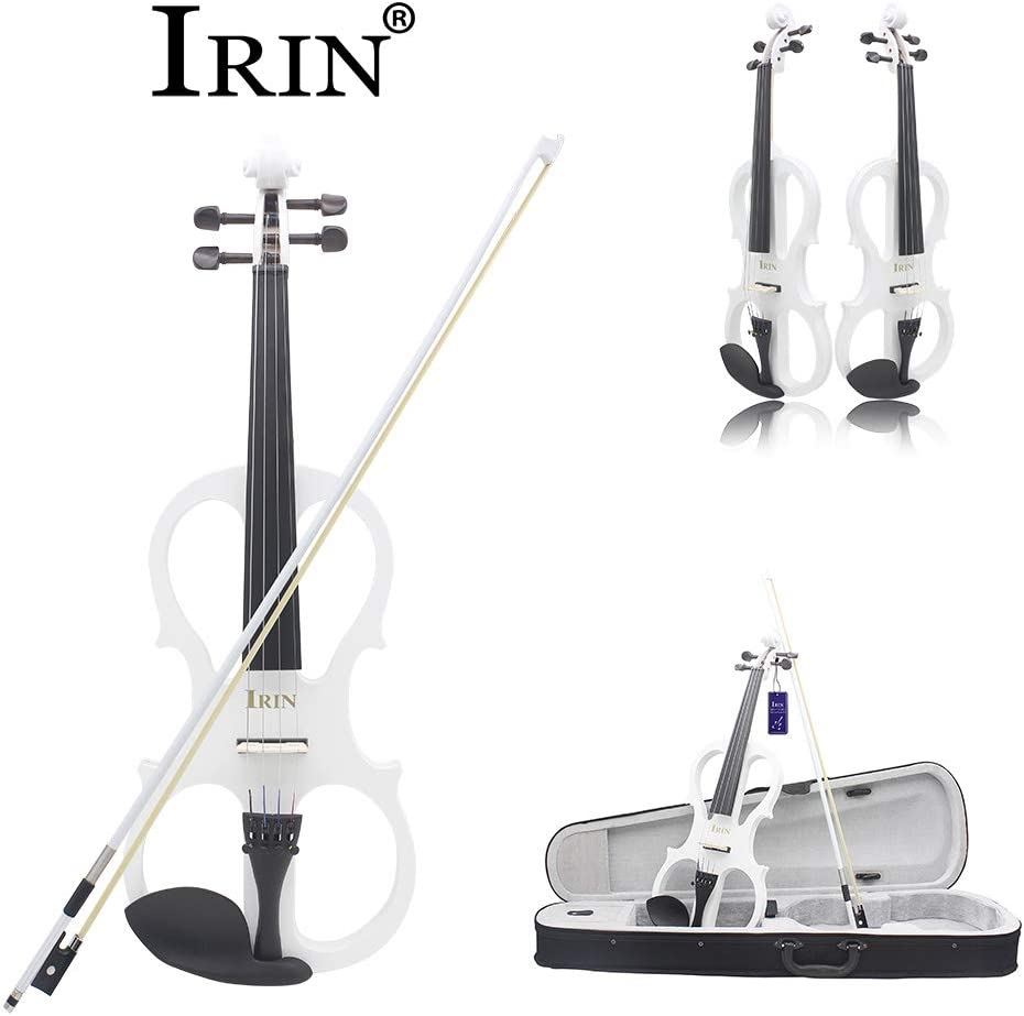 Metermall IRIN 4//4 Electric Acoustic Violin Fiddle with Violin Case Cover Bow for Musical Stringed Instrument Lovers Beginners White