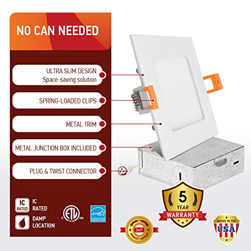OSTWIN (12 Pack) 4 inch 9W (45 Watt Repl.) IC Rated LED Recessed Low Profile Slim Square Panel Light with Junction Box, Dimmable, 5000K Daylight 630 Lm. No Can Needed ETL & Energy Star Listed by OSTWIN (Image #2)