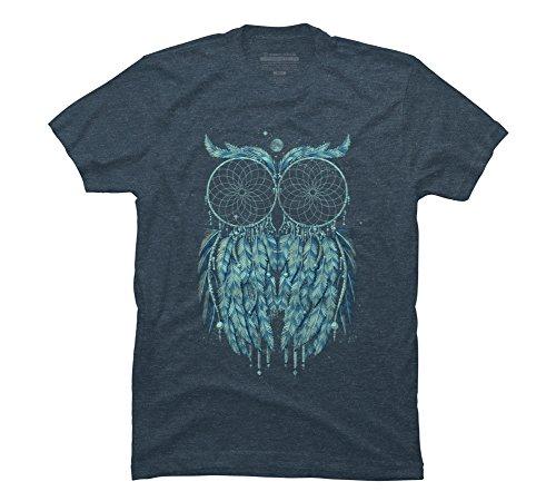 Design By Humans Owl Dream Men's Large Slate Blue Heather Graphic T Shirt