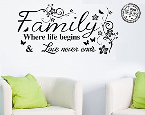 Wall Stickers 'Family Where Life Begins 'Vinyl Wall Decal Words Quote Wall Art Sticker Home Decor for Bedroom Living Room 39.3 x 15.7 in (Black)