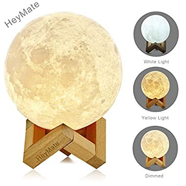 HeyMate 3D Printing Lunar Lamp Touch Control Night Light as Kids Women Girls Gift,Large ! 5.9  Rechargeable Moon Lamp with Wooden Holder, Warm Cool White Dimmable Touch Control