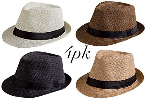 f54372768 4 Pack Fedora Hat Mens Fedora Hats for Men Women Trilby Hat Straw Sun Hat  Panama Hat (Pack of 4)