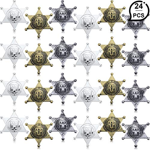 WILLBOND 24 Pieces Plastic Sheriff Badge Cowboy