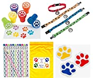 Paw Print Birthday Party Favor Bundle Pack Animal Lover (12 Stampers, 12 Pencils, 12 Erasers, 12…