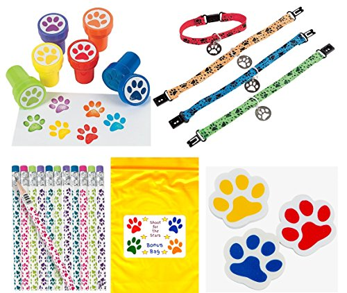 Puppy Pencil (Paw Print Birthday Party Favor Bundle Pack Animal Lover (12 Stampers, 12 Pencils, 12 Erasers, 12 Puppy Dog Collar Bracelets & Bonus Bag) by Multiple)
