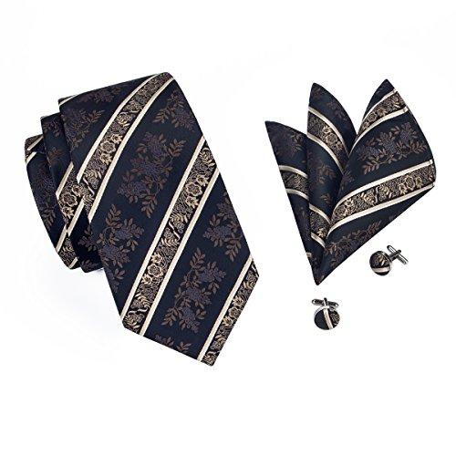 Hi-Tie Men Black Brown Stripes Tie Handkerchief Necktie with Cufflinks and Pocket Square Tie Set (Set Cufflinks Necktie Stripes)