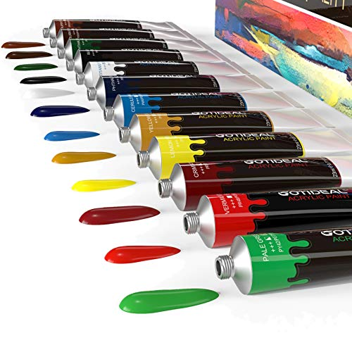 GOTIDEAL Acrylic Paint Set, 12 Colors/Tubes(23ml, 0.77 oz) Non Toxic Non Fading,Rich Pigments for Artist, Hobby Painters, Adults & Kids, Ideal for Canvas Wood Clay