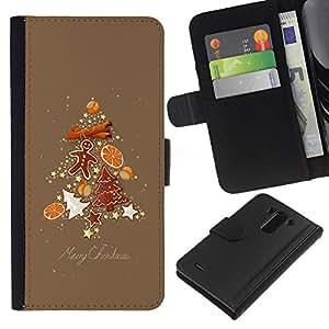 KLONGSHOP // Tirón de la caja Cartera de cuero con ranuras para tarjetas - Árbol de Navidad Abeto marrón de pan de jengibre - LG G3 //