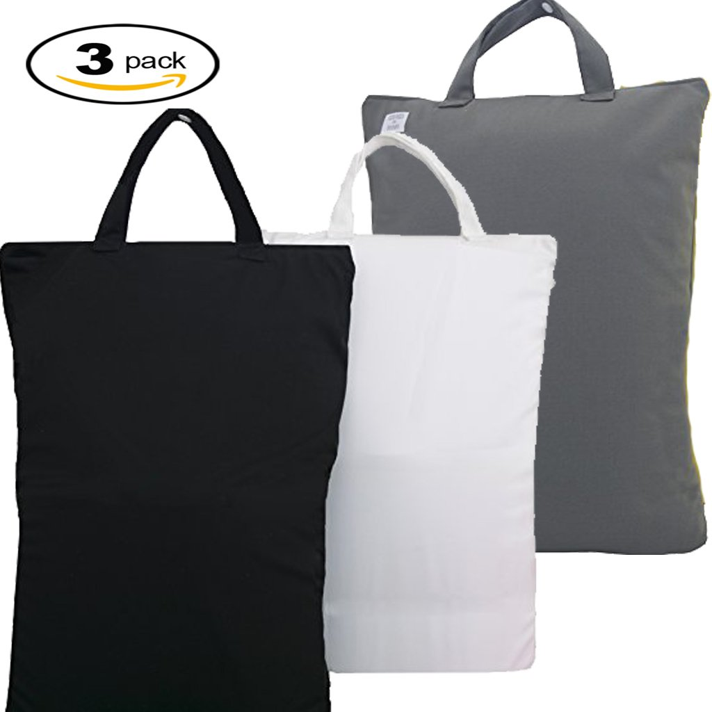 3 Wet Bags - 12.5''Wide X 18''High| Water-Resistant |Masks Odors| Washable & Reusable | for: Cloth Diapers, Daycare, Soiled Baby Items, Swimsuits, Gym, Yoga, Travel (3 Pack-Black/White/Gray)