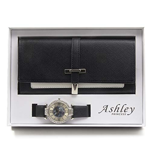 - Women's Essentials - Matching Women's Watch & Colorful 2 Layer Design Wallet Gift Set - ST10234 Black