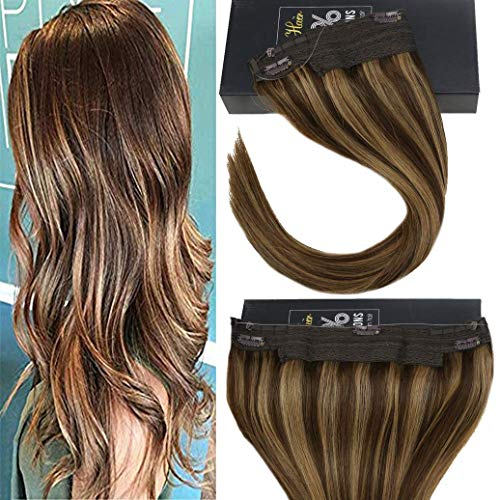 Sunny Halo Hair Extensions Remy Human Hair 20 inches Dark Brown Highlights Caramel Blonde Invisible Wire Hair Extensions Human Hair 100G/Pack