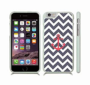 iStar Cases? iPhone 6 Case with Chevron Pattern Stripe Grey Blue/ White/ Red Anchor , Snap-on Cover, Hard Carrying Case (White) by icecream design
