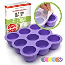 KIDDO FEEDO Baby Food Storage - The Amazon Original Freezer Tray Container With Silicone Lid - 9x2.5oz - 6 Colors Available - FREE eBook by Author/Dietitian - BPA Free/FDA Approved,